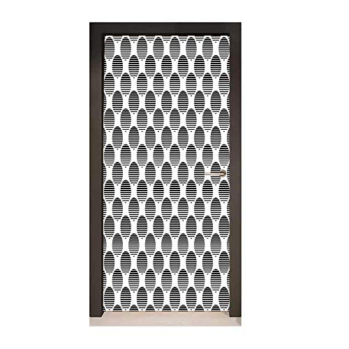 (Geometric Circle Decor Door Mural Continuous Rippling Twisted Inner Circular Horizontal Arc Model Print for Home Decoration Black White,W23xH70 )