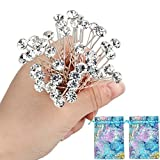 40pcs Bridal Wedding Hair Pins Rhinestone Hair Clips with 2 Jewelry Bags U-shaped Design Collection Crystal Hair Pins Clips Accessories for Women and Girls