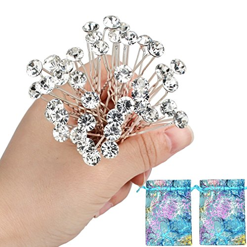 40pcs Bridal Wedding Hair Pins Rhinestone Hair Clips with 2 Jewelry Bags U-shaped Design Collection Crystal Hair Pins Clips Accessories for Women and (Design Crystal)