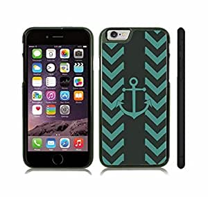 iStar Cases? iPhone 6 Plus Case with Chevron Pattern Stripe Teal Anchor , Snap-on Cover, Hard Carrying Case (Black)