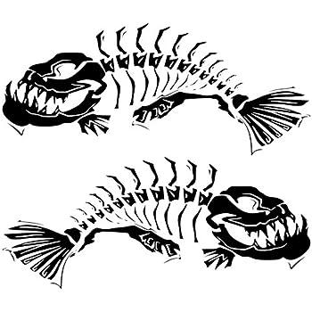 Amazon Com 2 Skeleton Fish Boat Decals Large Fishing Graphic