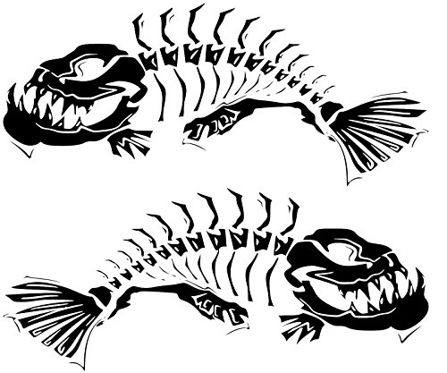 2 Skeleton fish boat Decals large Fishing graphic sticker shark salt skiff v6 (matte black) ()