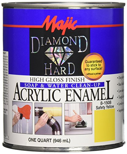 Majic Paints 8-1508-2 Diamond Hard High Gloss Finish Acrylic Enamel Paint, 1-Quart, Safety Yellow (Yellow Enamel Finish)