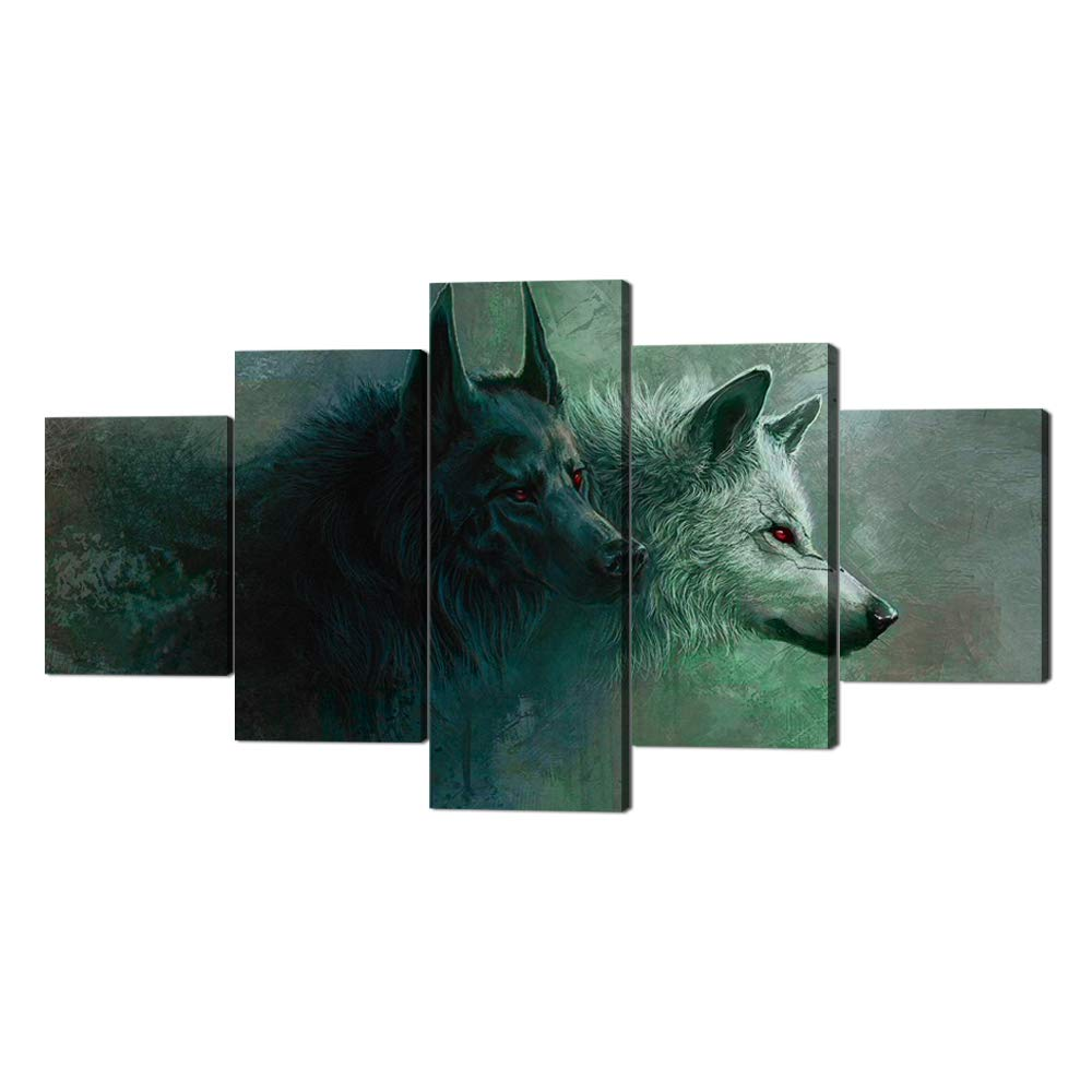Artwork-04 60''W x 32''H Yatsen Bridge 5 Panels Modern Wolf Canvas Wall Art Black and White Wolf Picture Prints on Stretched and Framed Giclee Wall Art Print Ready to Hang for Home Decor - 60''W x 32''H
