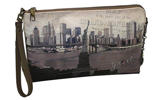 BORSA SHOULDER BAG YNOT? G303 DONNA STAMPA NEW YORK LIBERTY CON MANICO