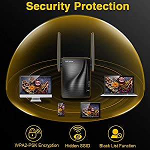 WiFi Range Extender-2.4 & 5GHz Dual Band Wireless Repeater,1292 sq.ft Wirerless Range & Up to 733Mbps High Speed, WPS One Button Setup with Advanced Security, Work with Any Router & Alexa Device (Color: blacki, Tamaño: AC750)