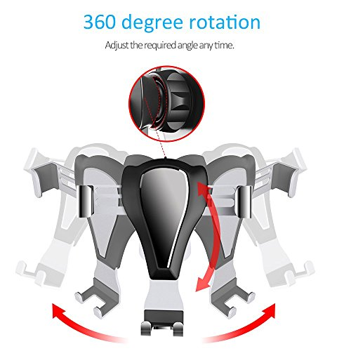 ELEWIUM-Gravity-Car-Mount-Universal-Air-Vent-Cell-Phone-Holder-iPhone-Samsung-LG-HTC-Other-Smartphone-Devices-360-Rotating-Joint-Adjustable-Auto-Clamping-With-Anti-Scratch-Silicone-Clips