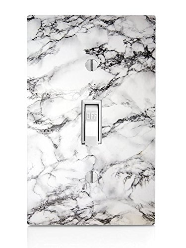 White Marble Design Light Switch Plate