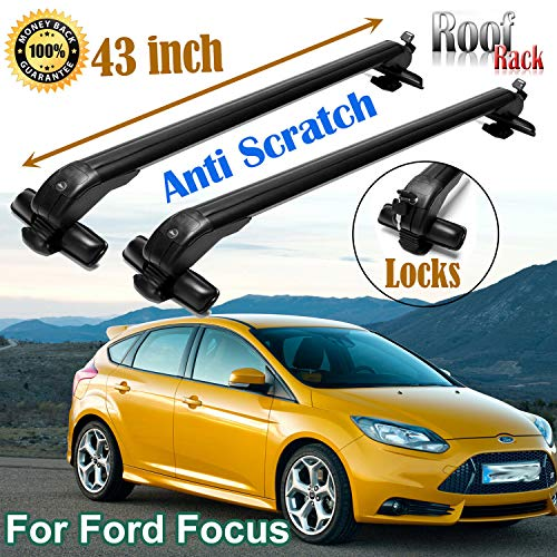 SIKY for Ford Focus 2000-16 43inch Car Roof Rack Cross Bar Top Aluminum Bars Luggage Carrier with Key Lock (2 Pieces)
