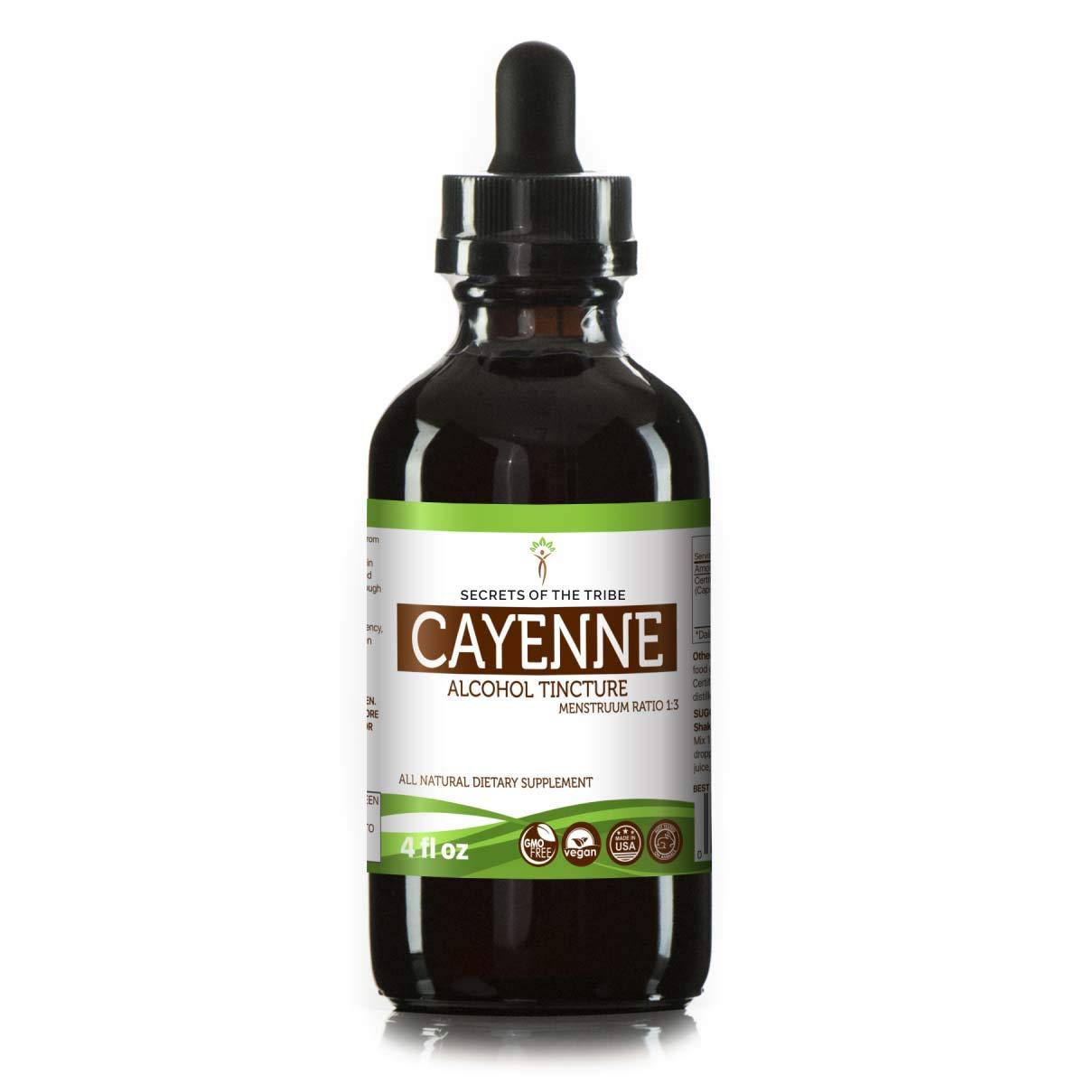Cayenne Tincture Alcohol Extract, Organic Cayenne Capsicum annuum Invigorating Effect 4 OZ