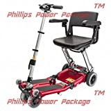 Free Rider USA - Luggie Elite - Compact Lightweight Foldable Scooter - 4-Wheel - Red - PHILLIPS POWER PACKAGE TM - TO $500 VALUE