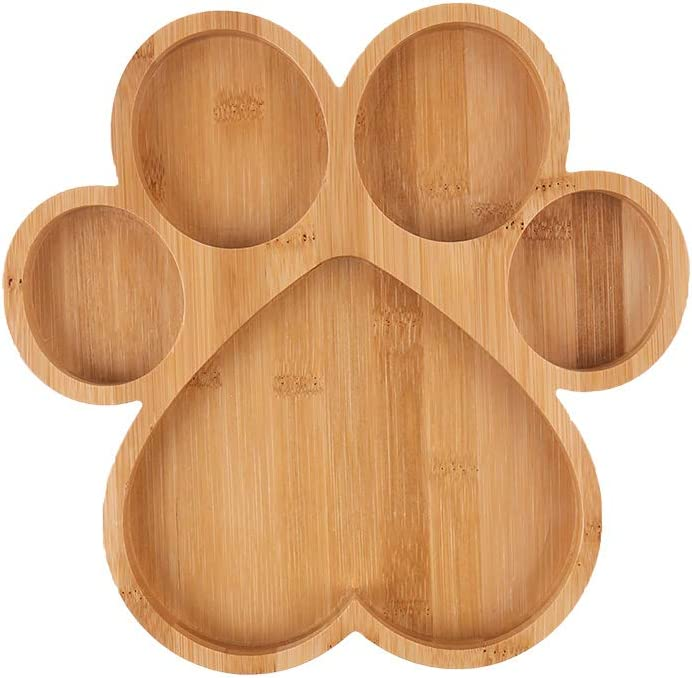 Paw Shaped Serving Tray with 5 Grooves Wooden Cutting Board Claw Candy Dish Bowl (Paw)
