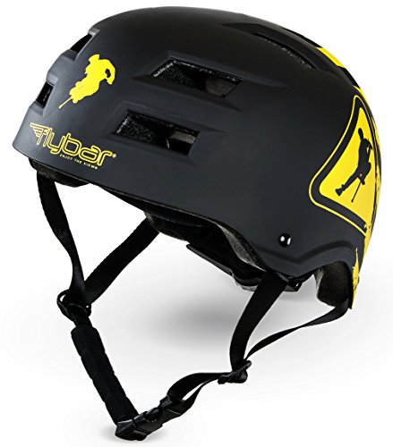 Flybar Protective Multi-Sport Adjustable Helmet with 12 Wide Vents (Warning, Small / Medium)