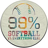 99% Softball. 1% Everything Else Non-slip Mats Circular Carpet Mats Dining Room Bedroom Carpet Floor Mat 23.6 Inch