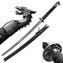 Archaic Thrones Dragon Slayer Katana Sword w/ Gem - SILVER (Limited Edition)