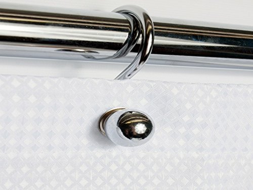 Sweet Home Collection Rust Resistant Tone Metal Ball Shower Hook, Set of 12, 0, Chrome ()