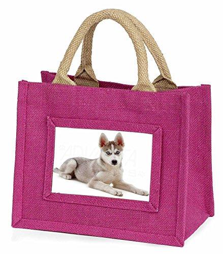 Advanta–Mini Pink Jute Tasche Siberian Husky Puppy Little Mädchen klein Einkaufstasche Weihnachten Geschenk, Jute, pink, 25,5x 21x 2cm