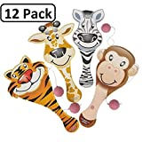 Zoo Animal Paddle Ball Game – Assorted Zoo Animal Shaped Paddle Ball Game – Great For Animal Themed Party Favors And Giveaways – By Katzco