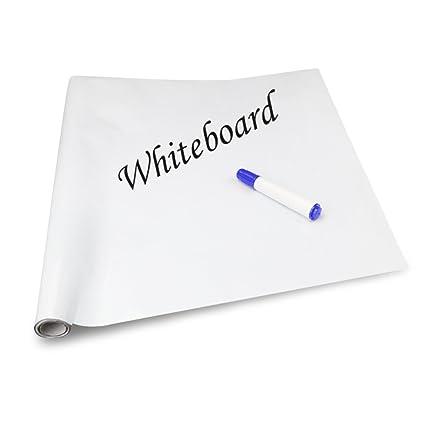 IdefairTM - Vinilo de alta calidad adhesivo para pared de pizarra, con tiza de 4 colores, 45 x 2 inch, color blanco