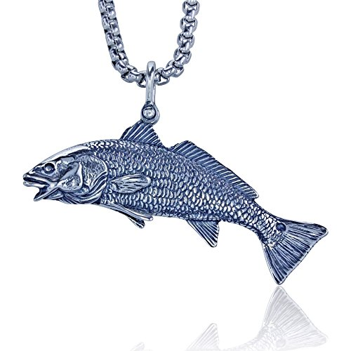 Redfish Puppy Drum Pendant Crafted in Sterling Silver on a 22' Sturdy Box Necklace Chain