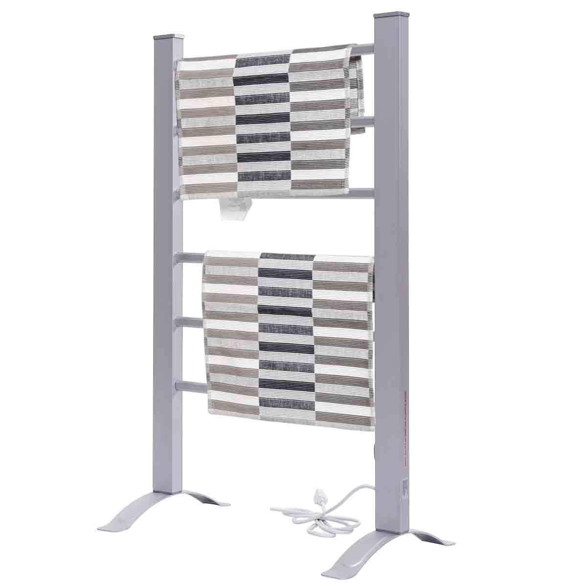 Safeplus Aluinum Electric Towel Warmer 6 Bar Bath Towel Heater Freestanding or Wall Mountable