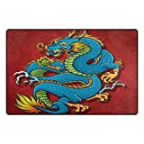 TSWEETHOME Doormat Area Rugs Outdoor Inside Welcome Mats with Blue Dragon for Chair and Decorative Floor Mat(31 x 20 in & 60 x 39 in)