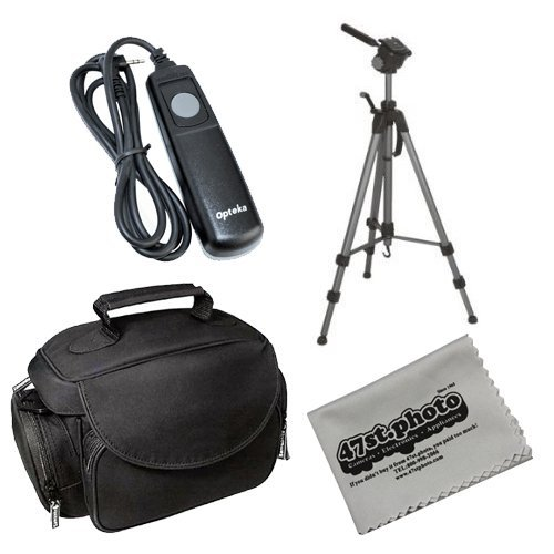 Starter Deluxe Package with Opteka OPT-7000 70'' Professional Tripod, Opteka Microfiber Deluxe Gadget Bag, Opteka Remote Shutter Relase Cord and 47st.Photo Deluxe Microfiber Cleaning Cloth for Olympus E-1 E-3 E-5 E-10 E-20 E-100RS E-300 C-8080 C-7070 C-506 by 47th Street Photo