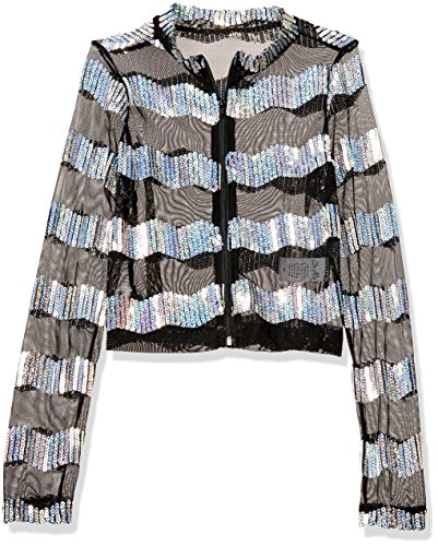 [Gia-Mia Dance Big Girls' Sequin Stripe Jacket Dance Stretch Mesh Jazz Hip Hop Costume Performance Team, Silver,] (Dance Costumes Kids Jazz)