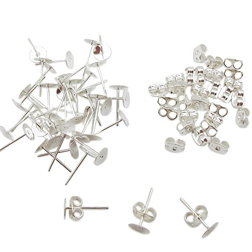TOAOB 300 Pairs Crafts Stainless Steel Earrings Posts Flat Post Pad With Butterfly Findings Earring Backs For Earrings Making DIY Jewelry - Kit Earrings Jewelry