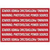 Hellermann Tyton 596-00208 Pre-Printed Solar Marker, 7.2'' X 5'', Reflective, PHOTOVOLTAIC POWER SOURCE, Red  (Pack of 25)