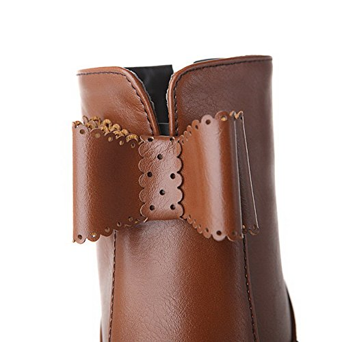 Top Zipper Heels Stiefel Damen High AgooLar Braun Solide PU Low aCptXqZw