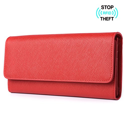 Italian Leather Clutch Wallet (Alavor Women's RFID Blocking Large Capacity Luxury Genuine Leather Clutch Wallet Card Holder Ladies Purse (Red))