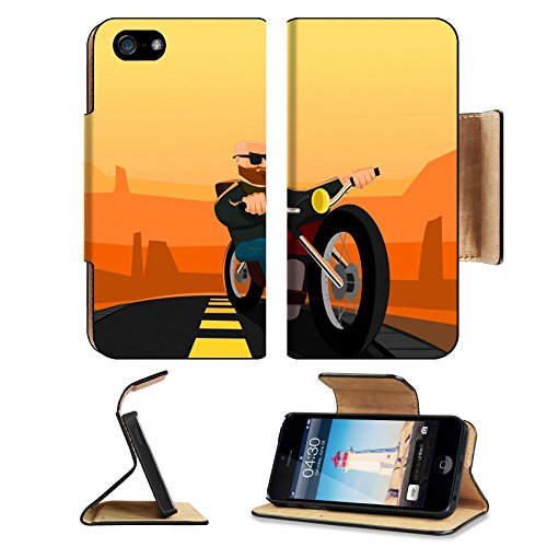 Brown Biker Beard & Mustache (Luxlady Premium Apple iPhone 5 iphone 5S Flip Pu Leather Wallet Case iPhone5 IMAGE ID: 33971900 Biker in the Desert)