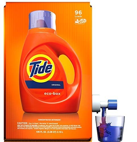(Tide Laundry Detergent Liquid Eco-Box, Concentrated, Original Scent, 105 oz, HE Compatible, 96 Loads)