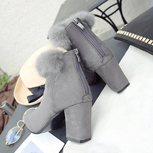 Square Toe Heels Fashion Grey Heel Momola Women's Zipper Pointed Boots Martin High Ankle xISwC4Hq