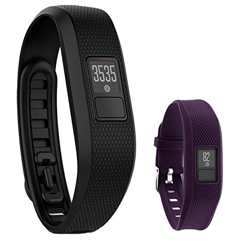Garmin Vivofit 3 Activity Tracker Fitness Band XL Fit – Black with Extreme Speed Silicone Replacement Wrist Band Strap (Purple) by Garmin