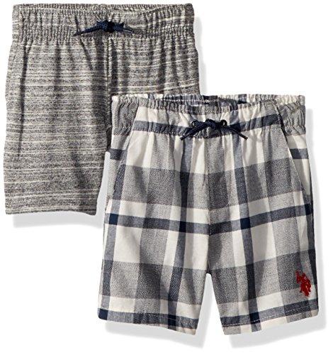 Polo Plaid Shorts (U.S. Polo Assn. Toddler Boys' 2 Pack Short, Plaid Woven with Fleece Short Multi Plaid, 3T)