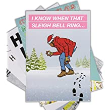 """Set of 5 """"HIP-HOP"""" Funny Christmas Card by LOCKER ROOM TALK CARDS with Envelopes 5x7 inches (Drake, 2pac, Biggie, Ja Rule, Chris Brown)"""