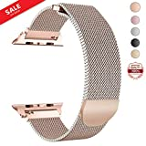 LWCUS Compatible Replacement for Apple Watch Band 38(40) 42(44) MM, Milanese Mesh Loop Stainless Steel Compatible iWatch Band with Magnetic Closure for Apple Watch Series 4 3 2 1[38(40)-Coppery Gold]