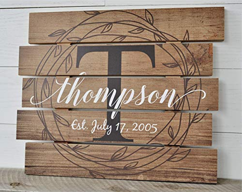 Personalized Family Name Sign Rustic Pallet Wood Monogram Wood 15x18]()
