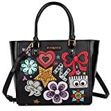 Top Handle Pop Art Design [Black] Shopper Bag with Detachable/Adjustable Shoulder Strap