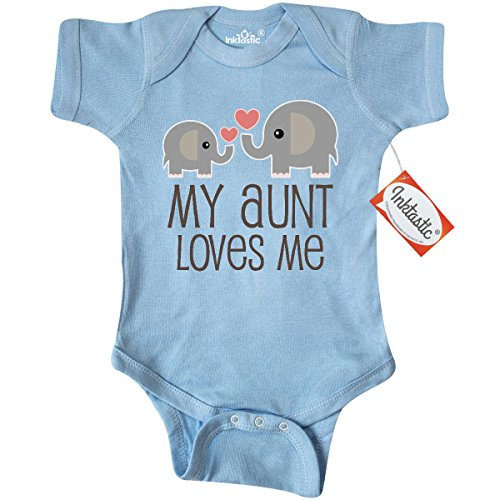 Inktastic Unisex Baby My Aunt Loves Me gift Infant Creeper 6 Months Baby Blue