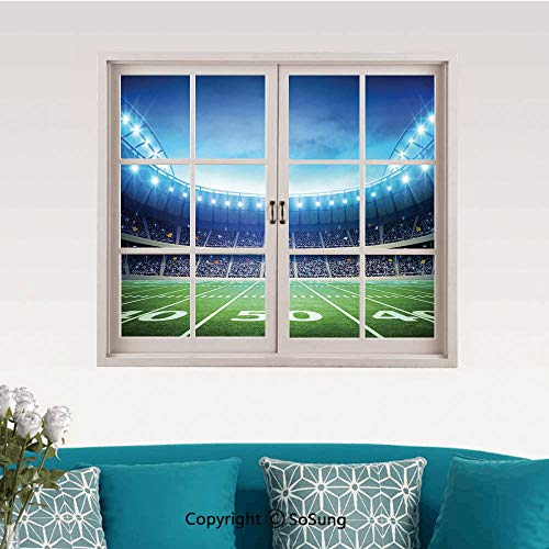 (Football Removable Wall Sticker/Wall Mural,Photo of American Stadium Green Grass Arena Playground Bleachers Event Match Creative Close Window View Wall Decor,24