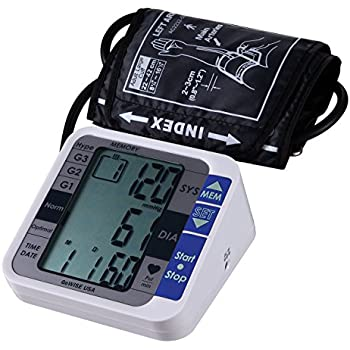 GoWISE USA Digital Upper Arm Blood Pressure Monitor with Hypertension Risk Indicator & Irregular Heartbeat Detection, FDA Approved