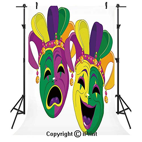 Mardi Gras Photography Backdrops,Traditional Masks of Tragedy and Comedy Festival Celebration Masquerade Theme Decorative,Birthday Party Seamless Photo Studio Booth Background Banner 3x5ft,Multicolor -