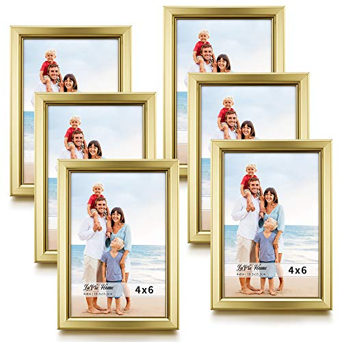 LaVie Home 4x6 Picture Frames (6 Pack, Gold) Simple Designed Photo Frame with High Definition Glass for Wall Mount & Table Top Display, Set of 6 Classic Collection]()