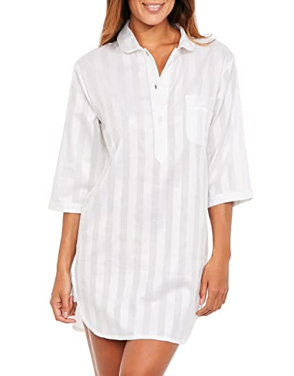 Bodas Womens Cotton Nightwear Nightshirt White  Amazon.co.uk  Clothing 74611d762