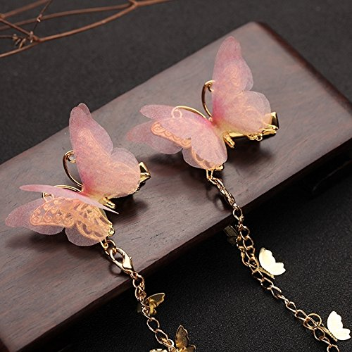 HJPRT antique chinese costume han chinese clothing accessories silk yarn butterfly fairy floating chinese style fringed hair clips hair jewelry (one pair of pink butterfly gold