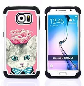 For Samsung Galaxy S6 G9200 - rose kitty kit kitten cat eyes Dual Layer caso de Shell HUELGA Impacto pata de cabra con im??genes gr??ficas Steam - Funny Shop -