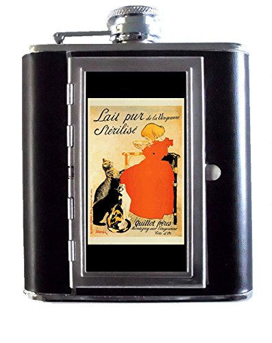 Vintage French Milk Ad Cats 5oz Stainless Steel & Leather Hip Flask with Built-In Cigarette Case ()
